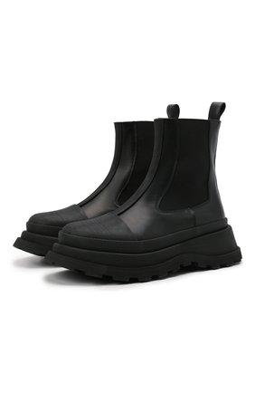 Женские комбинированный ботинки JIL SANDER черного цвета, арт. JS37070A-14060 | Фото 1 (Подошва: Платформа; Материал внутренний: Натуральная кожа; Каблук высота: Низкий; Женское Кросс-КТ: Челси-ботинки)
