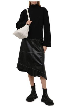 Женские комбинированный ботинки JIL SANDER черного цвета, арт. JS37070A-14060 | Фото 2 (Подошва: Платформа; Материал внутренний: Натуральная кожа; Каблук высота: Низкий; Женское Кросс-КТ: Челси-ботинки)