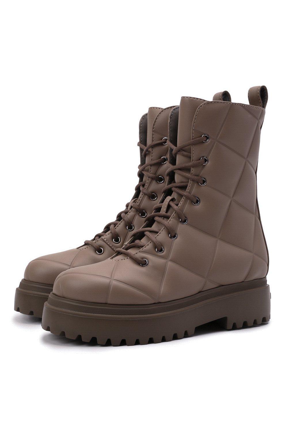 Женские комбинированные ботинки ranger LE SILLA серого цвета, арт. 6410T020M1PPFAK   Фото 1 (Материал внешний: Экокожа, Текстиль; Подошва: Платформа, Плоская; Каблук высота: Низкий; Женское Кросс-КТ: Военные ботинки; Материал внутренний: Натуральная кожа)