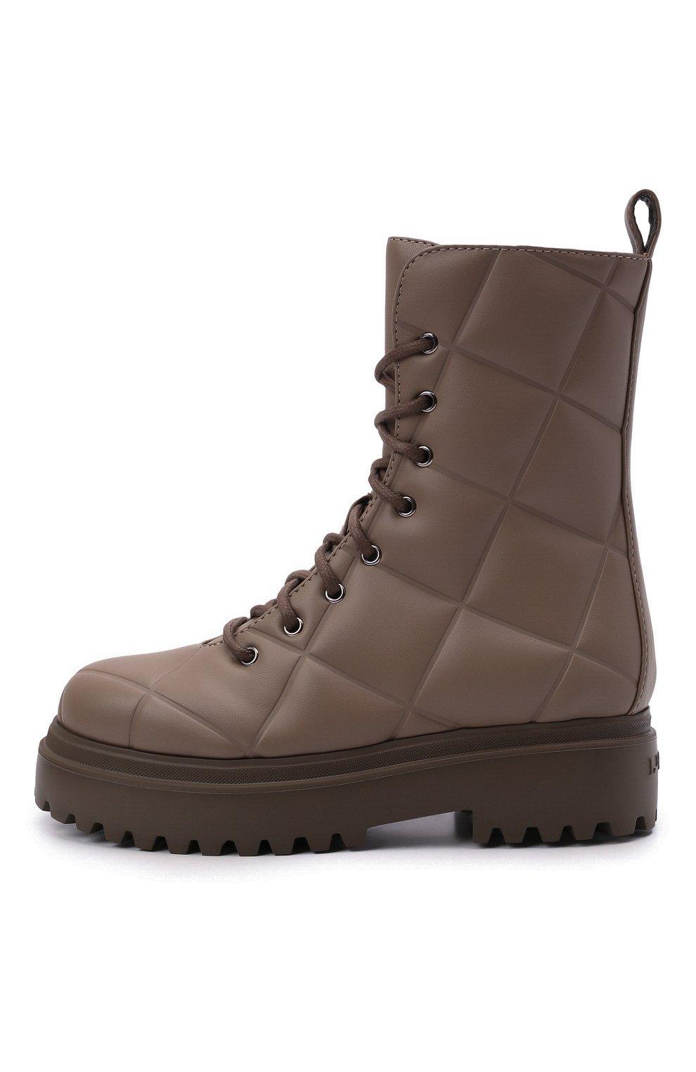 Женские комбинированные ботинки ranger LE SILLA серого цвета, арт. 6410T020M1PPFAK   Фото 3 (Материал внешний: Экокожа, Текстиль; Подошва: Платформа, Плоская; Каблук высота: Низкий; Женское Кросс-КТ: Военные ботинки; Материал внутренний: Натуральная кожа)