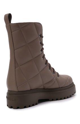 Женские комбинированные ботинки ranger LE SILLA серого цвета, арт. 6410T020M1PPFAK   Фото 4 (Материал внешний: Экокожа, Текстиль; Подошва: Платформа, Плоская; Каблук высота: Низкий; Женское Кросс-КТ: Военные ботинки; Материал внутренний: Натуральная кожа)