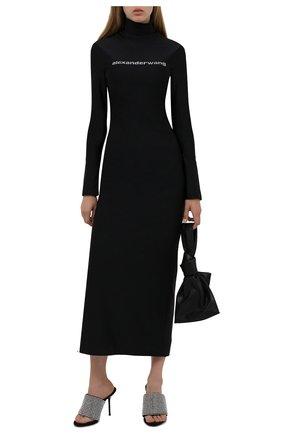 Женские текстильные мюли ALEXANDER WANG черного цвета, арт. 30321S044   Фото 2