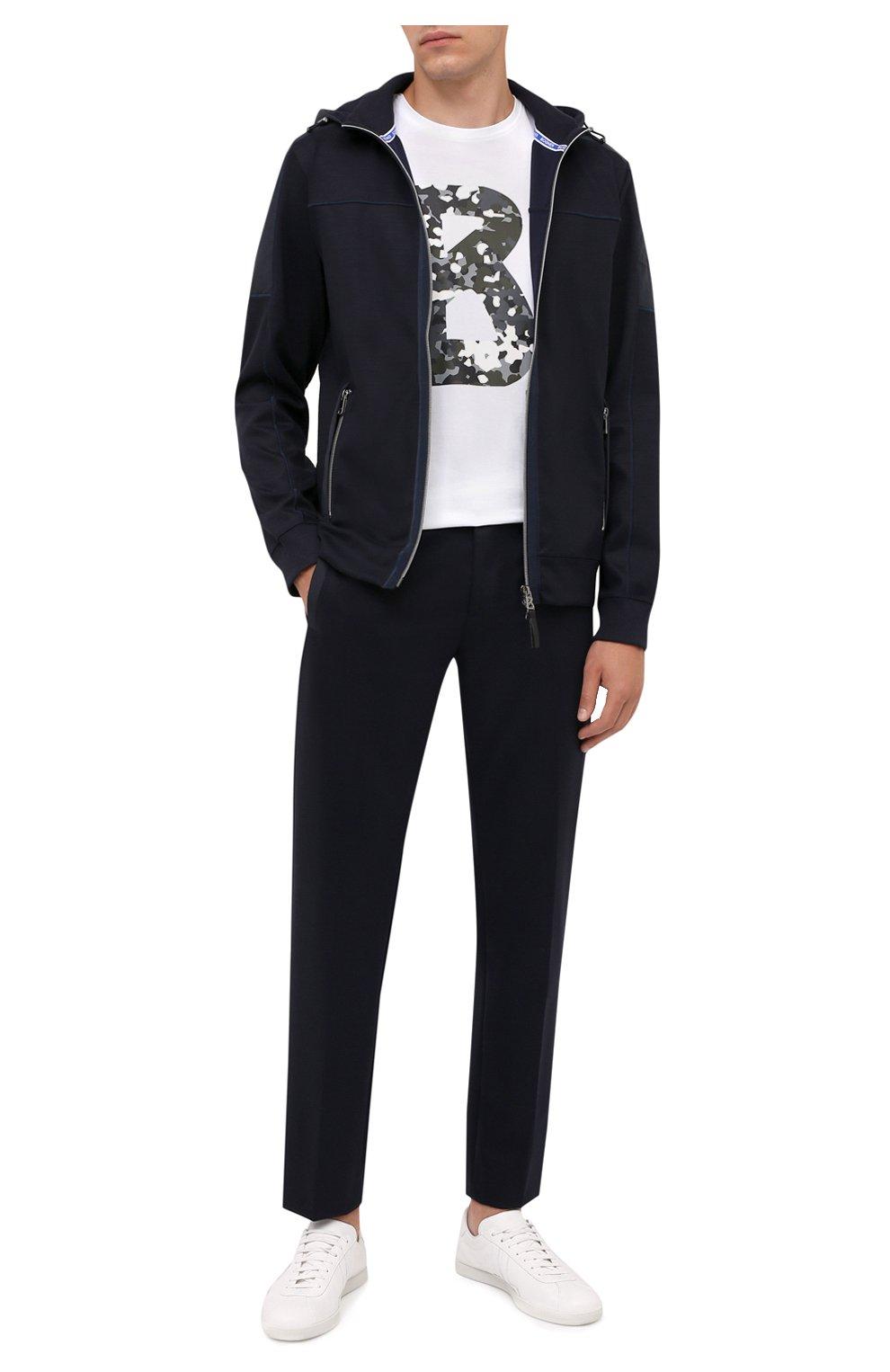 Мужские брюки BOGNER темно-синего цвета, арт. 18406508   Фото 2 (Материал внешний: Шерсть, Синтетический материал; Длина (брюки, джинсы): Стандартные; Случай: Повседневный; Стили: Кэжуэл)