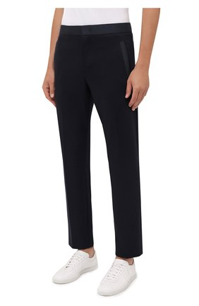 Мужские брюки BOGNER темно-синего цвета, арт. 18406508   Фото 3 (Материал внешний: Шерсть, Синтетический материал; Длина (брюки, джинсы): Стандартные; Случай: Повседневный; Стили: Кэжуэл)