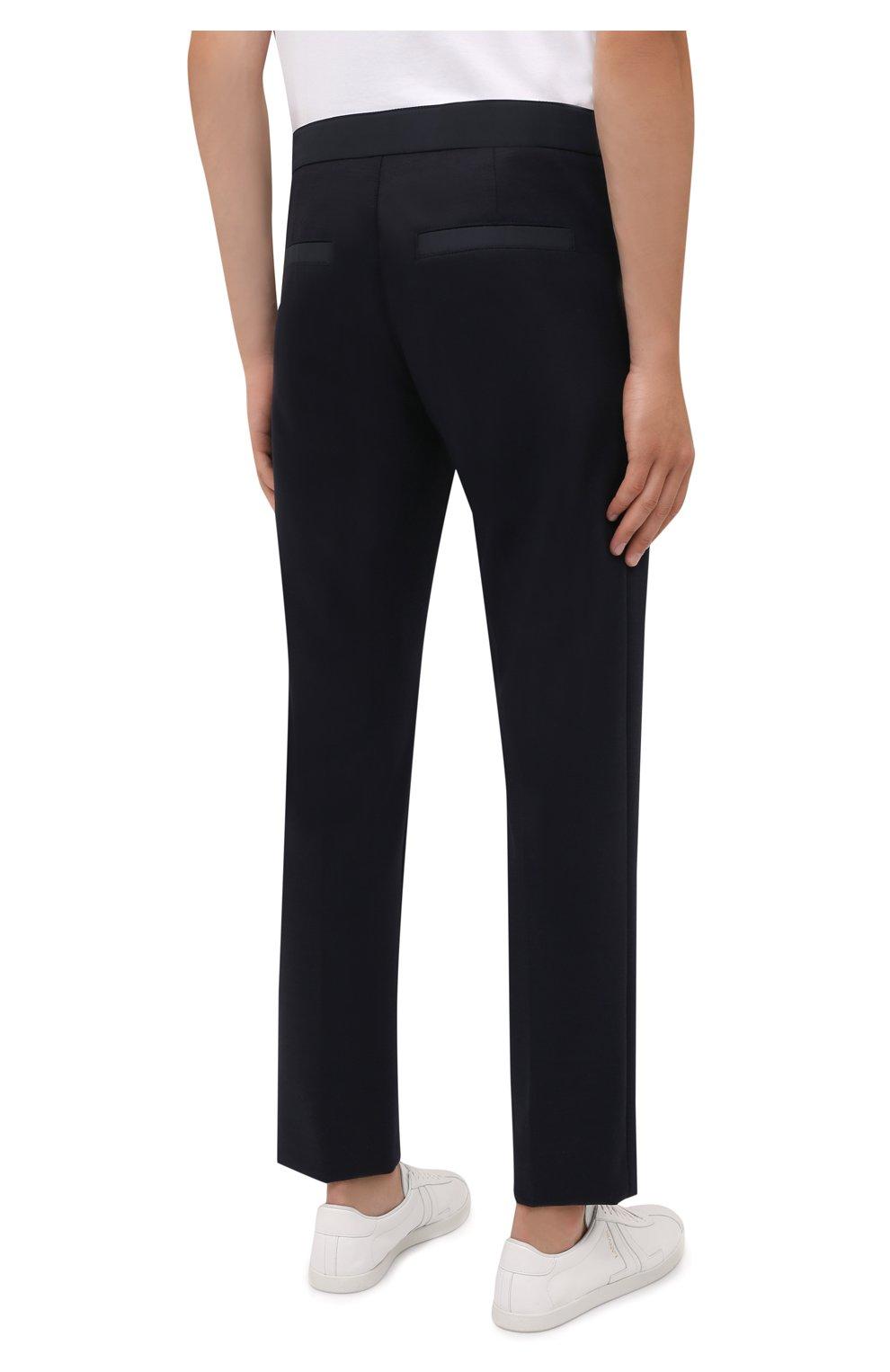 Мужские брюки BOGNER темно-синего цвета, арт. 18406508   Фото 4 (Материал внешний: Шерсть, Синтетический материал; Длина (брюки, джинсы): Стандартные; Случай: Повседневный; Стили: Кэжуэл)