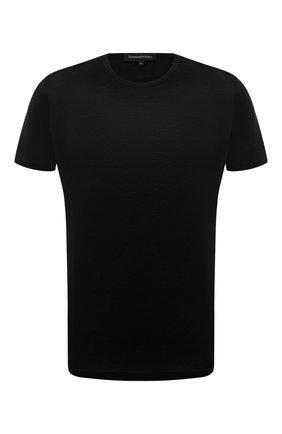 Мужская хлопковая футболка ERMENEGILDO ZEGNA черного цвета, арт. N2M200070 | Фото 1 (Материал внешний: Хлопок; Кросс-КТ: домашняя одежда; Рукава: Короткие; Длина (для топов): Стандартные)