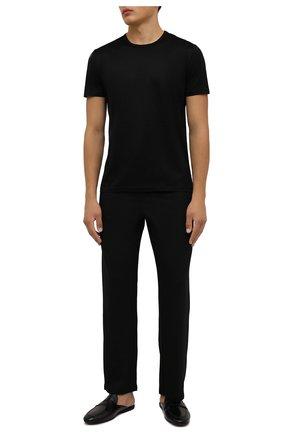 Мужская хлопковая футболка ERMENEGILDO ZEGNA черного цвета, арт. N2M200070 | Фото 2 (Материал внешний: Хлопок; Кросс-КТ: домашняя одежда; Рукава: Короткие; Длина (для топов): Стандартные)