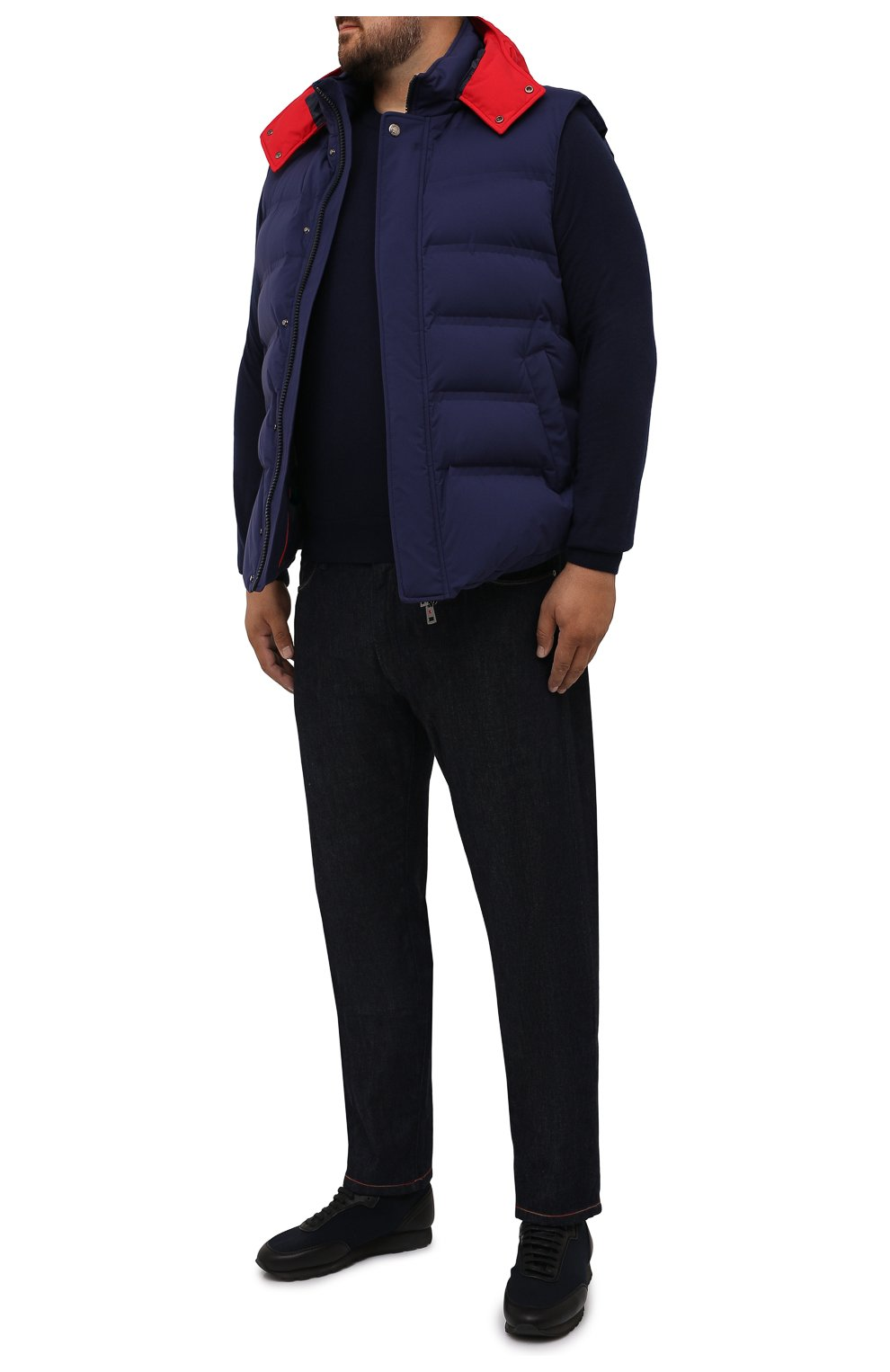 Мужской пуховый жилет KIRED темно-синего цвета, арт. WBREMAW6806518004/62-74 | Фото 2 (Кросс-КТ: Куртка, Пуховик; Big sizes: Big Sizes; Материал внешний: Синтетический материал; Стили: Спорт-шик; Материал подклада: Синтетический материал; Длина (верхняя одежда): Короткие; Материал утеплителя: Пух и перо)