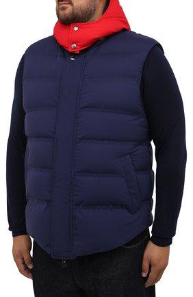 Мужской пуховый жилет KIRED темно-синего цвета, арт. WBREMAW6806518004/62-74 | Фото 3 (Кросс-КТ: Куртка, Пуховик; Big sizes: Big Sizes; Материал внешний: Синтетический материал; Стили: Спорт-шик; Материал подклада: Синтетический материал; Длина (верхняя одежда): Короткие; Материал утеплителя: Пух и перо)