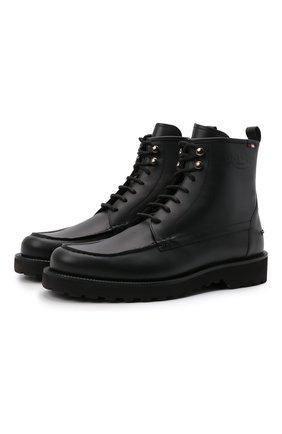 Мужские кожаные ботинки nokor BALLY черного цвета, арт. N0K0R/20 | Фото 1 (Материал внутренний: Натуральная кожа; Подошва: Плоская; Мужское Кросс-КТ: Ботинки-обувь)