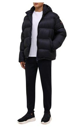 Мужские текстильные кроссовки bieny BALLY темно-синего цвета, арт. BIENY-T/236 | Фото 2 (Подошва: Массивная; Материал внутренний: Натуральная кожа; Материал внешний: Текстиль; Стили: Спорт)