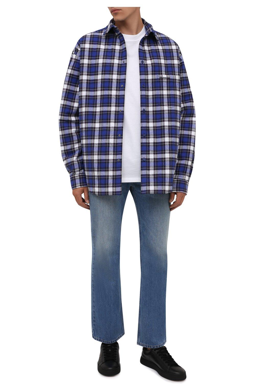 Мужские кожаные кеды KENZO черного цвета, арт. FA65SN171L50 | Фото 2 (Материал внутренний: Натуральная кожа, Текстиль; Подошва: Массивная)
