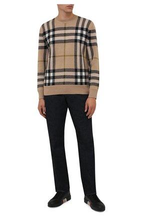 Мужские кожаные кеды BURBERRY черного цвета, арт. 8042172 | Фото 2