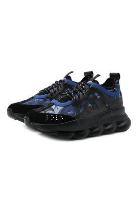 Мужские кроссовки chain reaction VERSACE синего цвета, арт. DSU7071E/1A00843 | Фото 1 (Материал внутренний: Текстиль; Материал внешний: Текстиль; Подошва: Массивная; Стили: Гранж)