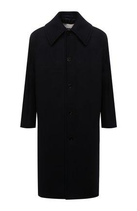 Мужской шерстяное пальто JIL SANDER темно-синего цвета, арт. JSMT431001-MT200500 | Фото 1 (Материал внешний: Шерсть; Материал подклада: Вискоза; Мужское Кросс-КТ: пальто-верхняя одежда; Рукава: Длинные; Длина (верхняя одежда): Длинные; Стили: Минимализм, Классический)