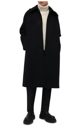 Мужской шерстяное пальто JIL SANDER темно-синего цвета, арт. JSMT431001-MT200500 | Фото 2 (Материал внешний: Шерсть; Материал подклада: Вискоза; Мужское Кросс-КТ: пальто-верхняя одежда; Рукава: Длинные; Длина (верхняя одежда): Длинные; Стили: Минимализм, Классический)