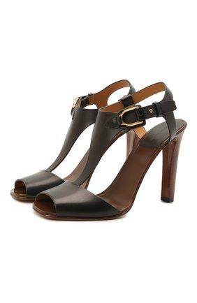 Женские кожаные босоножки emilie RALPH LAUREN черного цвета, арт. 800841323 | Фото 1 (Материал внутренний: Натуральная кожа; Подошва: Плоская; Каблук тип: Устойчивый; Каблук высота: Высокий)