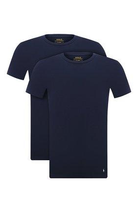 Мужская комплект из двух футболок POLO RALPH LAUREN темно-синего цвета, арт. 714835960   Фото 1 (Материал внешний: Хлопок; Кросс-КТ: домашняя одежда; Рукава: Короткие; Длина (для топов): Стандартные)