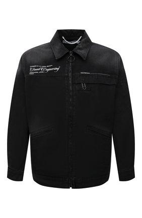 Мужская джинсовая куртка OFF-WHITE темно-серого цвета, арт. 0MEA210G21FAB001 | Фото 1 (Длина (верхняя одежда): Короткие; Рукава: Длинные; Материал внешний: Хлопок; Кросс-КТ: Куртка, Деним; Стили: Гранж)