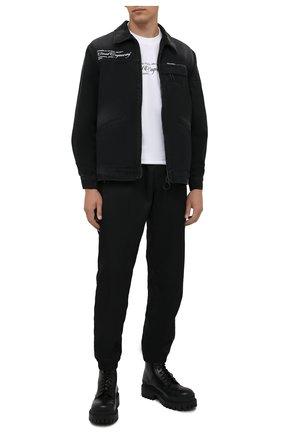 Мужская джинсовая куртка OFF-WHITE темно-серого цвета, арт. 0MEA210G21FAB001 | Фото 2 (Длина (верхняя одежда): Короткие; Рукава: Длинные; Материал внешний: Хлопок; Кросс-КТ: Куртка, Деним; Стили: Гранж)