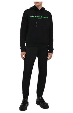 Мужской хлопковое худи OFF-WHITE черного цвета, арт. 0MBB034G21FLE001 | Фото 2 (Рукава: Длинные; Длина (для топов): Стандартные; Материал внешний: Хлопок; Мужское Кросс-КТ: Худи-одежда; Принт: С принтом; Стили: Спорт-шик)