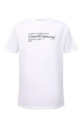 Мужская хлопковая футболка OFF-WHITE белого цвета, арт. 0MAA027G21JER001 | Фото 1 (Материал внешний: Хлопок; Рукава: Короткие; Длина (для топов): Стандартные; Принт: С принтом; Стили: Спорт-шик, Гранж)