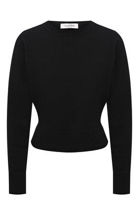 Женский кашемировый свитер VALENTINO черного цвета, арт. WB3KCC266LS   Фото 1 (Материал внешний: Кашемир, Шерсть; Стили: Гламурный; Женское Кросс-КТ: Свитер-одежда; Длина (для топов): Стандартные; Рукава: Длинные)