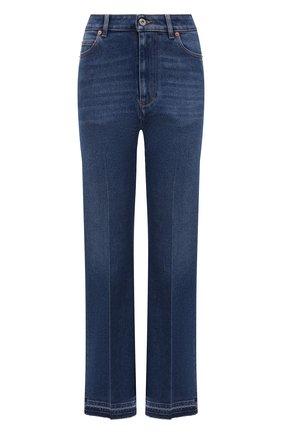 Женские джинсы VALENTINO синего цвета, арт. WB3DD12E7C6   Фото 1 (Длина (брюки, джинсы): Стандартные; Материал внешний: Хлопок; Стили: Гламурный; Кросс-КТ: Деним; Силуэт Ж (брюки и джинсы): Прямые)