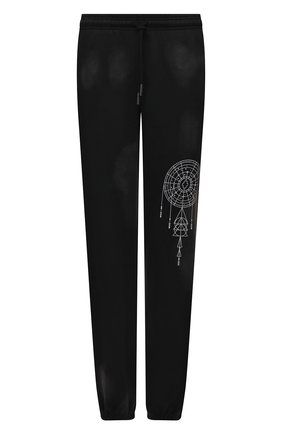 Мужские хлопковые джоггеры MARCELO BURLON черного цвета, арт. CMCH024F21FLE002 | Фото 1 (Материал внешний: Хлопок; Длина (брюки, джинсы): Стандартные; Силуэт М (брюки): Джоггеры; Стили: Спорт-шик; Мужское Кросс-КТ: Брюки-трикотаж)