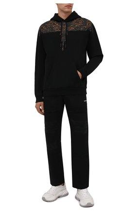 Мужской хлопковое худи MARCELO BURLON черного цвета, арт. CMBB007F21FLE002 | Фото 2 (Длина (для топов): Стандартные; Материал внешний: Хлопок; Рукава: Длинные; Мужское Кросс-КТ: Худи-одежда; Принт: С принтом; Стили: Спорт-шик)