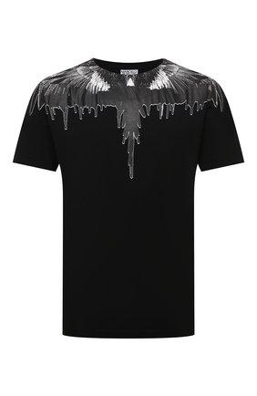 Мужская хлопковая футболка MARCELO BURLON черного цвета, арт. CMAA018F21JER004 | Фото 1 (Рукава: Короткие; Материал внешний: Хлопок; Длина (для топов): Стандартные; Принт: С принтом; Стили: Кэжуэл)