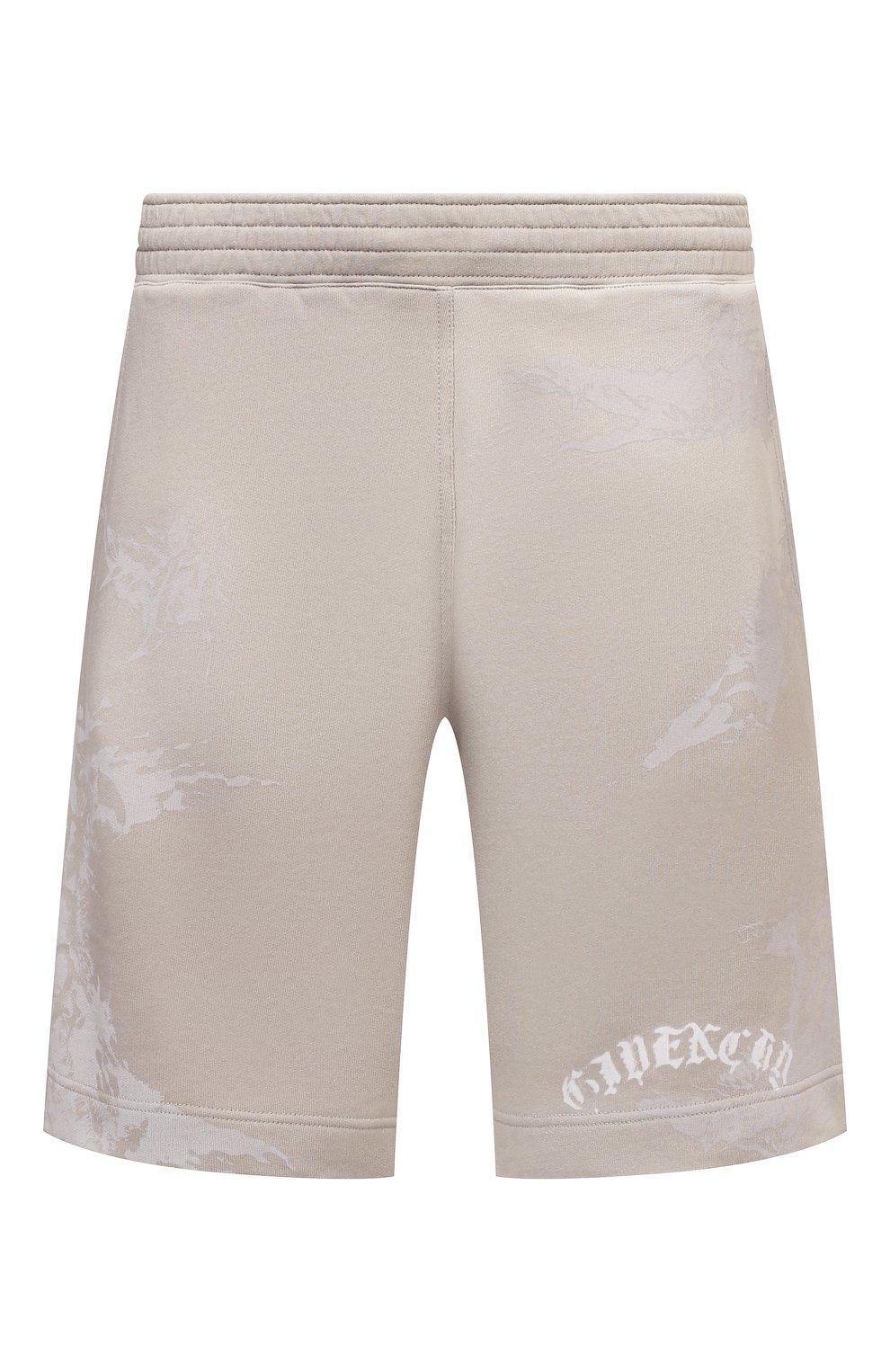 Мужские хлопковые шорты GIVENCHY светло-бежевого цвета, арт. BM50WK3Y6A   Фото 1 (Длина Шорты М: Ниже колена; Принт: С принтом; Кросс-КТ: Трикотаж; Материал внешний: Хлопок; Стили: Спорт-шик)