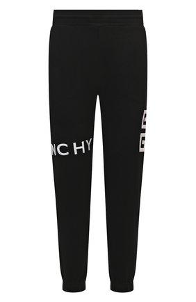 Мужские хлопковые джоггеры GIVENCHY черного цвета, арт. BM50WB3Y6U | Фото 1 (Длина (брюки, джинсы): Стандартные; Материал внешний: Хлопок; Силуэт М (брюки): Джоггеры; Стили: Спорт-шик; Мужское Кросс-КТ: Брюки-трикотаж)