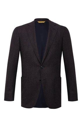 Мужской шерстяной пиджак CANALI темно-коричневого цвета, арт. 13275/CU03430/112 | Фото 1 (Материал внешний: Шерсть; Рукава: Длинные; Длина (для топов): Стандартные; Материал подклада: Купро; Случай: Коктейльный; Пиджаки М: Приталенный; 1-2-бортные: Однобортные; Стили: Классический)