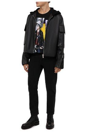 Мужская хлопковая футболка DIEGO VENTURINO черного цвета, арт. FW21-DV TS0 MSP   Фото 2