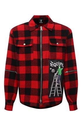 Мужская куртка DIEGO VENTURINO красного цвета, арт. FW21-DV CMC FZ-REDECF | Фото 1 (Материал внешний: Синтетический материал; Длина (верхняя одежда): Короткие; Рукава: Длинные; Кросс-КТ: Куртка, Ветровка; Стили: Гранж)