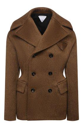 Женское пальто BOTTEGA VENETA коричневого цвета, арт. 666490/V0XS0   Фото 1 (Длина (верхняя одежда): Короткие; Материал внешний: Шерсть; Рукава: Длинные; Материал подклада: Вискоза; Стили: Гламурный; 1-2-бортные: Двубортные)