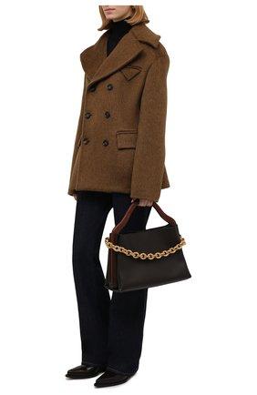 Женское пальто BOTTEGA VENETA коричневого цвета, арт. 666490/V0XS0   Фото 2 (Длина (верхняя одежда): Короткие; Материал внешний: Шерсть; Рукава: Длинные; Материал подклада: Вискоза; Стили: Гламурный; 1-2-бортные: Двубортные)