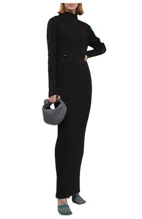 Женское шелковое платье BOTTEGA VENETA коричневого цвета, арт. 664509/V0ZM0   Фото 2 (Материал внешний: Шелк; Длина Ж (юбки, платья, шорты): Макси; Рукава: Длинные; Стили: Гламурный; Кросс-КТ: Трикотаж; Случай: Повседневный; Женское Кросс-КТ: Платье-одежда)
