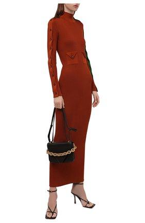 Женское шелковое платье BOTTEGA VENETA коричневого цвета, арт. 664509/V0ZM0   Фото 2 (Материал внешний: Шелк; Рукава: Длинные; Длина Ж (юбки, платья, шорты): Макси; Стили: Гламурный; Кросс-КТ: Трикотаж; Случай: Повседневный; Женское Кросс-КТ: Платье-одежда)