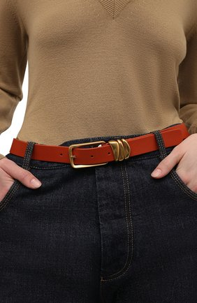 Женский кожаный ремень BOTTEGA VENETA оранжевого цвета, арт. 666677/VMAU3 | Фото 2