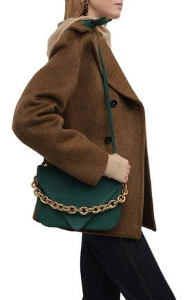 Женская сумка mount medium BOTTEGA VENETA темно-бирюзового цвета, арт. 667398/V09C1 | Фото 2 (Ремень/цепочка: На ремешке; Размер: medium; Материал: Натуральная кожа; Сумки-технические: Сумки через плечо)