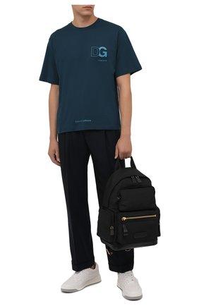Мужская хлопковая футболка DOLCE & GABBANA темно-бирюзового цвета, арт. G8NB3Z/FU7EQ | Фото 2