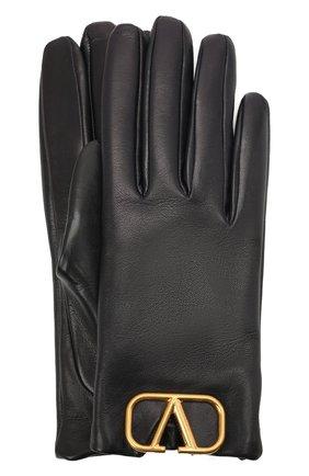 Женские кожаные перчатки VALENTINO темно-синего цвета, арт. WW2GDA00/WJW | Фото 1