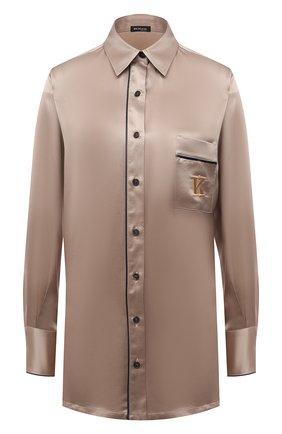 Женская шелковая рубашка KITON светло-бежевого цвета, арт. D52446K04H94   Фото 1 (Рукава: Длинные; Материал внешний: Шелк; Длина (для топов): Удлиненные; Женское Кросс-КТ: Рубашка-одежда; Принт: С принтом; Стили: Романтичный)