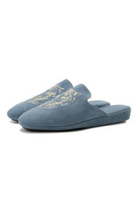 Женского домашние туфли из замши HOMERS AT HOME тёмно-голубого цвета, арт. 20234/ANTE | Фото 1