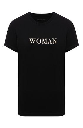 Женская хлопковая футболка ZADIG&VOLTAIRE черного цвета, арт. WKTR1803F   Фото 1