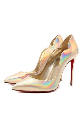 Женские кожаные туфли hot chick 100 CHRISTIAN LOUBOUTIN золотого цвета, арт. 3210007/H0T CHICK 100 | Фото 1