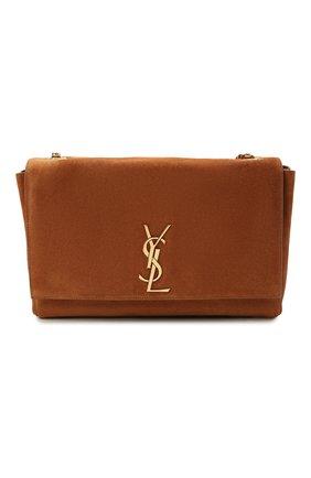 Женская сумка kate supple SAINT LAURENT коричневого цвета, арт. 553804/1S78W | Фото 1 (Ремень/цепочка: На ремешке; Материал: Натуральная кожа, Натуральная замша; Размер: medium; Сумки-технические: Сумки через плечо)