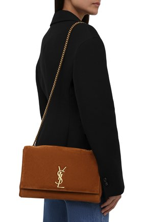 Женская сумка kate supple SAINT LAURENT коричневого цвета, арт. 553804/1S78W | Фото 2 (Ремень/цепочка: На ремешке; Материал: Натуральная кожа, Натуральная замша; Размер: medium; Сумки-технические: Сумки через плечо)